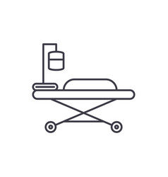 medical bed line icon concept medical bed vector image