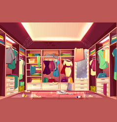 messy walk in closet interior cartoon vector image