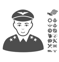Military pilot officer icon with tools vector