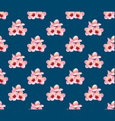 Momo peach flower blossom on indigo blue vector