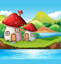 mushroom home by a lake vector image