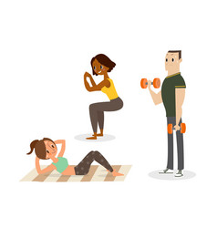people doing body weight exercises vector image