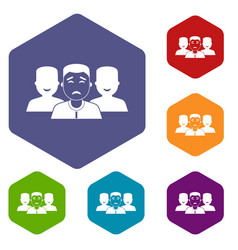 people group icons set hexagon vector image