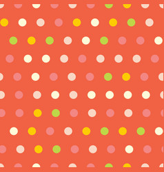 polka dots seamless pattern on red vector image