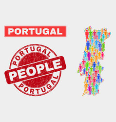 Portugal map population people and corroded vector