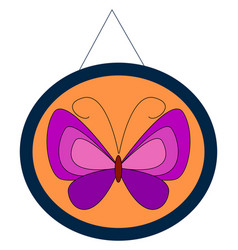 purple butterfly on white background vector image