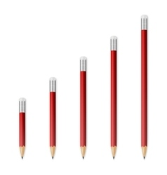 Red wooden sharp pencils vector image