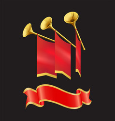 ribbon and flag with trumpet vector image