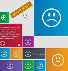 Sad face sadness depression icon sign metro style vector
