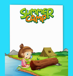 scene background design for word summer camp with vector image