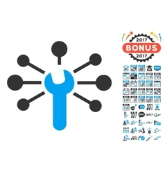 Service Wrench Relations Icon With 2017 Year Bonus vector