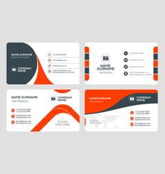 Set 4 business card templates flat design vector
