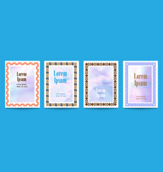set flyer pages ornament with geometric frames vector image