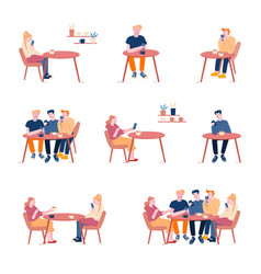 set men and women friends companies sitting in vector image
