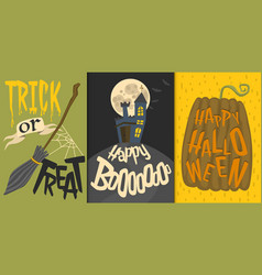 Set of happy halloween greeting card vector