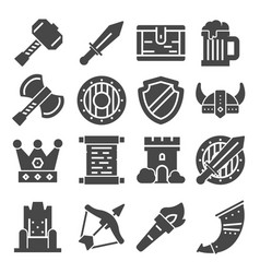 Simple set of medieval related icons vector