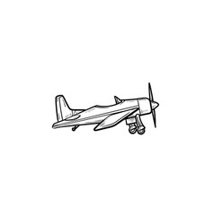 small plane with propeller hand drawn outline vector image