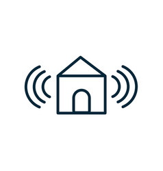 smart house signal internet things line icon vector image