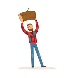Smiling lumberjack man holding downed log colorful vector
