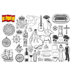 spanish travel icons symbols map and flag vector image
