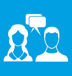 speech bubbles with two faces icon white vector image