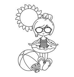 summer and kids cartoon in black and white vector image