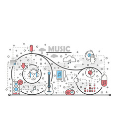 thin line art music poster banner template vector image