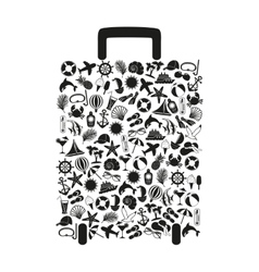 Travel suitcase of many elements vector