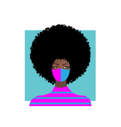 Trendy woman wearing stylish surgical mask vector