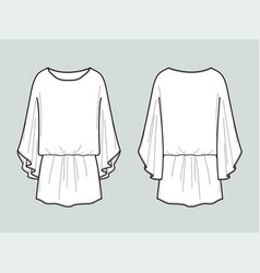 tunic with elastic waist front and back views vector image