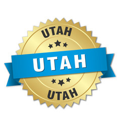 Utah round golden badge with blue ribbon vector