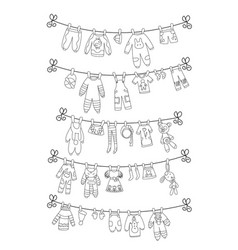 Various items baclothes on rope isolated vector