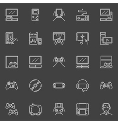Video game line icons vector image