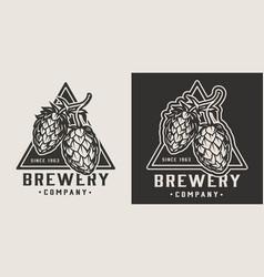 Vintage beer monochrome emblem vector