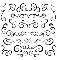 Vintage decorative curls and swirls set vector