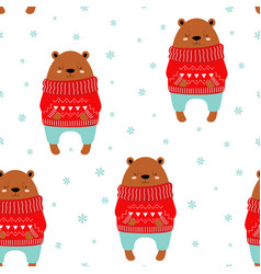 winter pattern with cute bear vector image