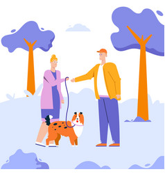 woman gives dog leash to man working at pet vector image