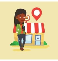 Woman looking for restaurant in her smartphone vector image