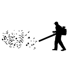 Worker collect leaves with blower silhouette vector