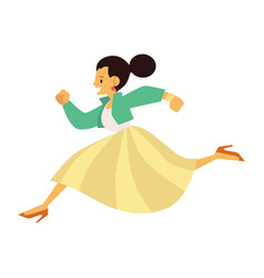 Young happy girl in casual clothing running in vector