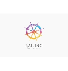 Helm logo Sailing logo design Color logo design vector image vector image