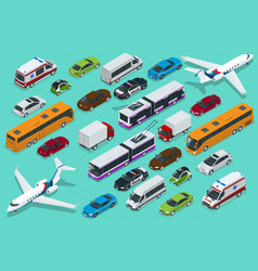 isometric city transport with front and rear views vector image