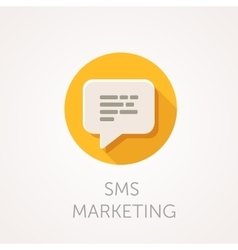 SMS marketing Icon Flat design style with long vector image vector image