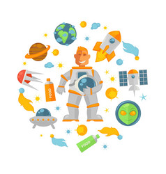 spaceman in pressure suit and cosmic equipmment vector image