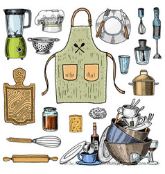 apron or pinaphora and hood rolling pin and vector image vector image