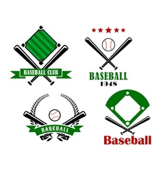 Baseball sporting emblems or badges vector image vector image