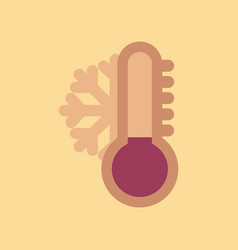 Assembly flat icons nature thermometer cold vector