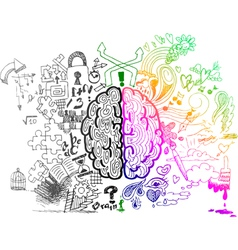 Brain hemispheres sketchy doodles vector image vector image