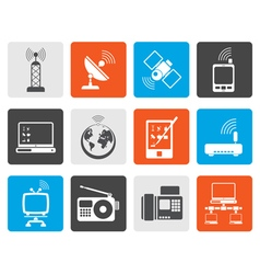 Flat communication and technology icons vector image vector image