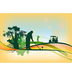 Golf Silhouettes in colorful background vector image vector image